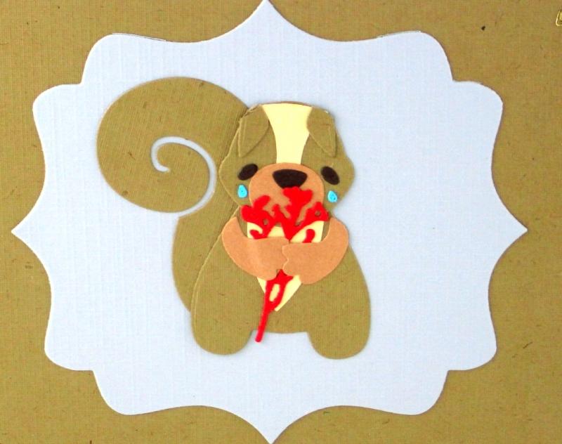 Kleinesbild - Grußkarte mit Eichhörnchen, Entschuldigungskarte Eichhörnchen, Tränen, Blumen, Tut mir leid Grußkarte, ca. 15 x 15 cm