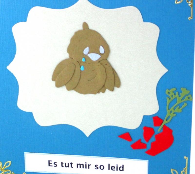 Kleinesbild - Grußkarte mit Vogel, Entschuldigungskarte, Vogel und Vase, Tränen, Es tut mir leid Karte, ca. 15 x 15 cm