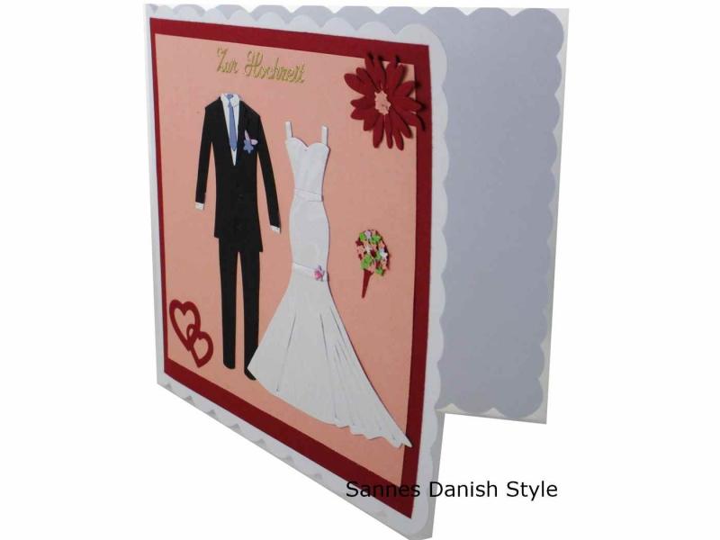 Kleinesbild - Hochzeitskarte, Glückwunschkarte für das glückliche Brautpaar , schöne Karte zur Hochzeit für Braut und Bräutigam , ca. 15 x 15 cm