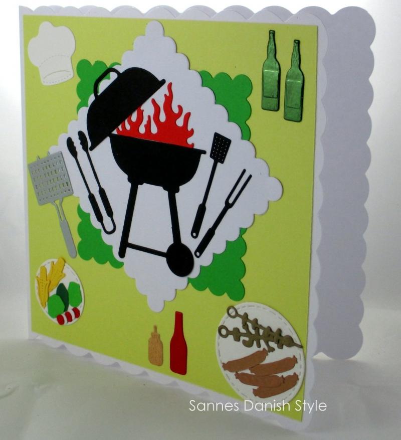 Kleinesbild - Grußkarte mit Grill, Faltkarte Grillkurs, Verpackung für Gutscheine, Grill, Salat, Fleisch, die Karte ist ca. 15 x 15 cm