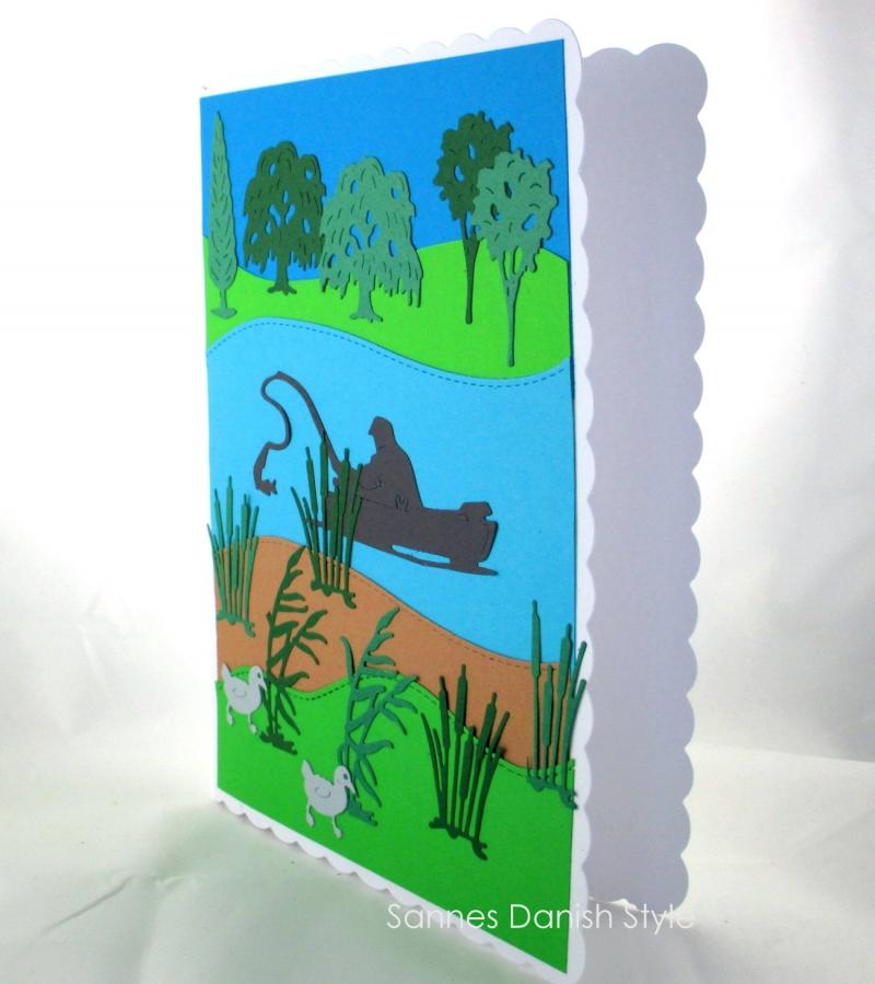 Kleinesbild - Anglerkarte, Geburtstagskarte für Angler oder für den Ruhestand, Angler auf den See, ca. DIN A5