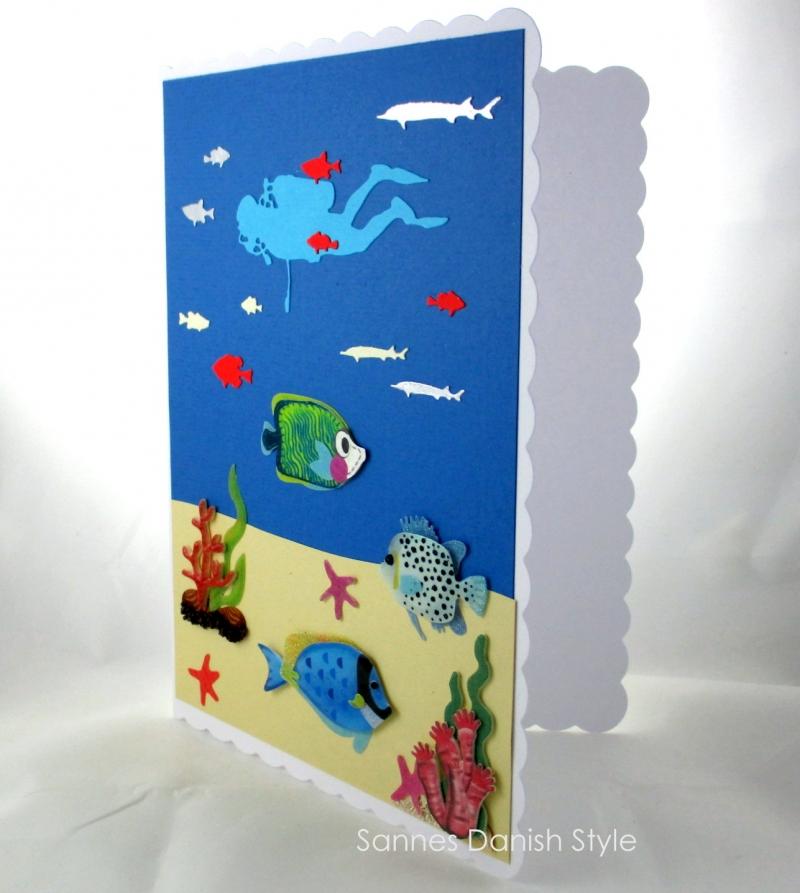 Kleinesbild - Taucherkarte, Geburtstagskarte, Grußkarte, Tauchurlaub, Faltkarte, Meer und Pflanzen, die Karte ist ca. DIN A5 Format