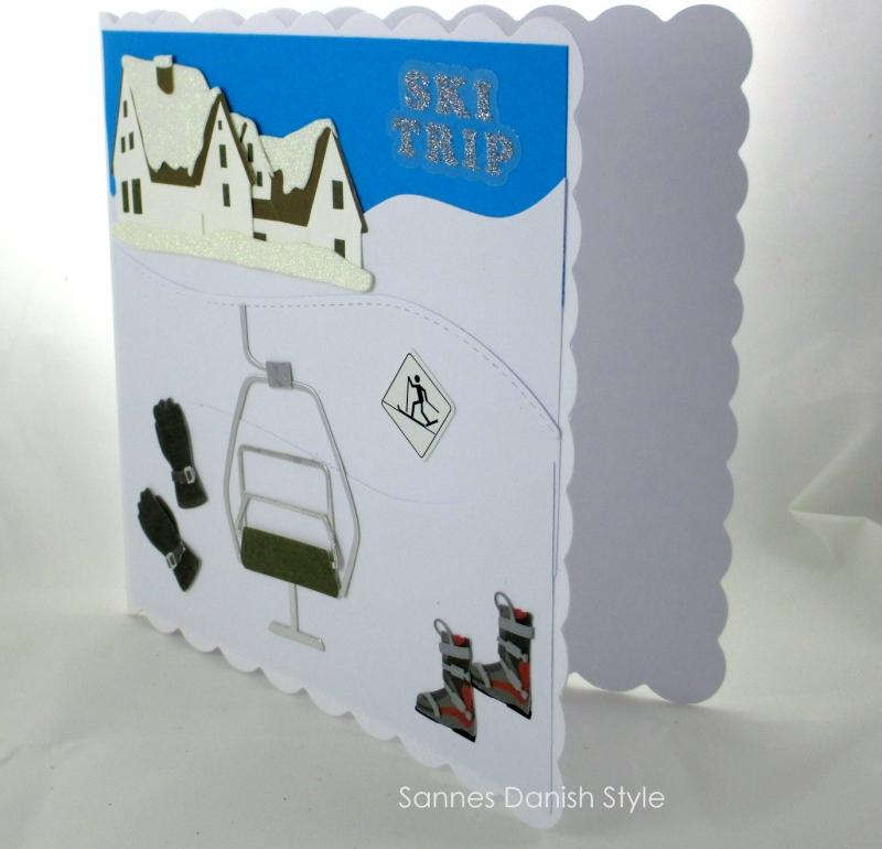 Kleinesbild - Geburtstagskarte, Glückwunschkarte für Skiurlauber, mit Skilift, Hotel und Skiläufer, die Karte ist ca. 15 x 15 cm