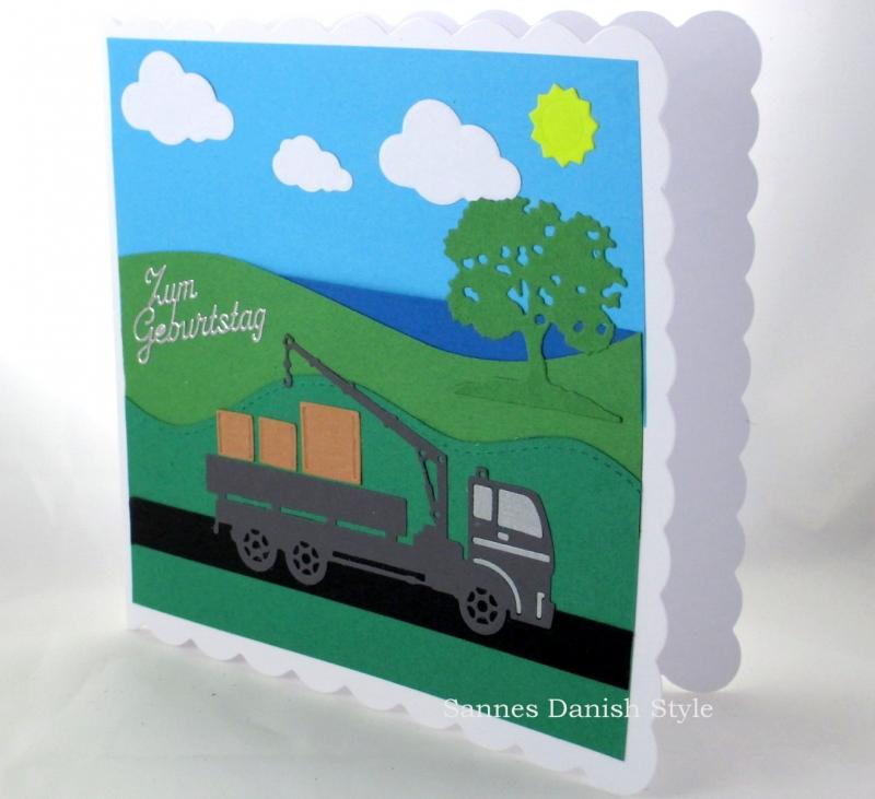 Kleinesbild - Geburtstagskarte mit LKW und Kran auf die Strasse, Lastwagen, Geburtstagsgrüße, die Karte ist ca. 15 x 15 cm