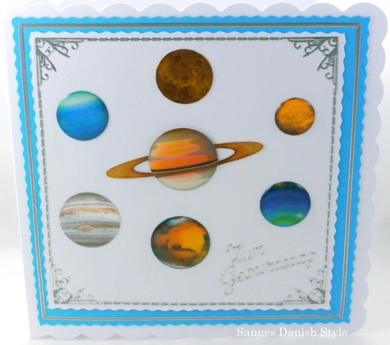 Kleinesbild - Geburtstagskarte mit Planeten, Sonnensystem, für Schule oder Beruf, ca. 15 x 15 cm