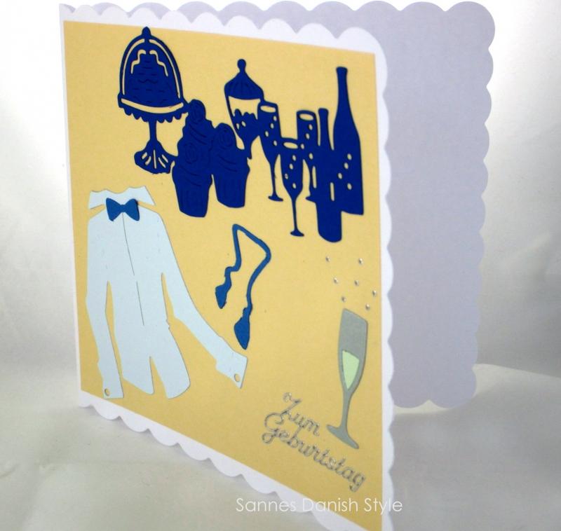 Kleinesbild - Geburtstagskarte für den Mann, Hemd, Party und Sekt, schöne Geburtstag, die Karte ist ca. 15 x 15 cm