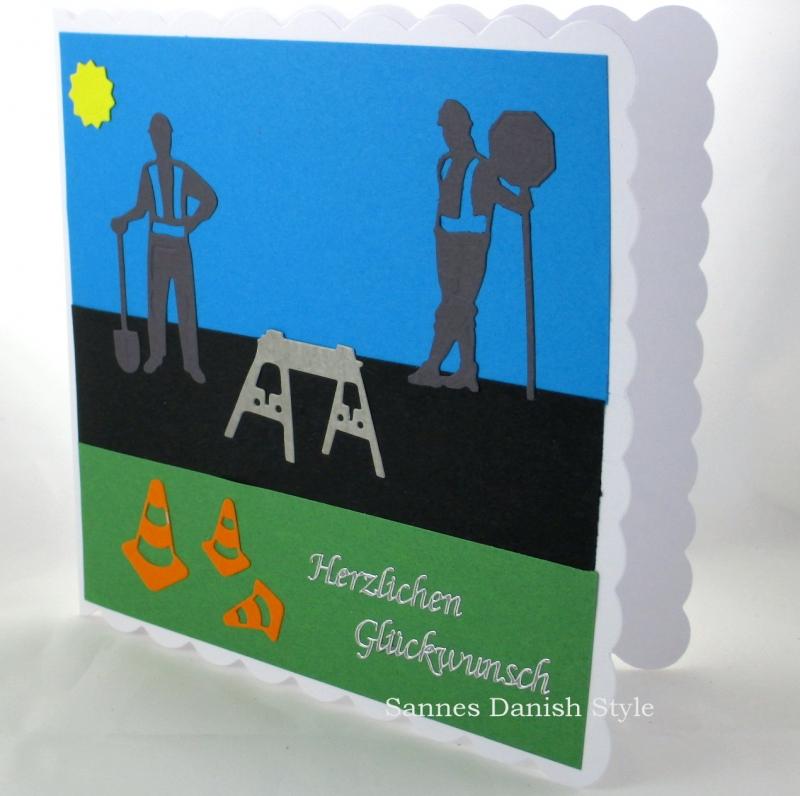 Kleinesbild - Glückwunschkarte, Straßenbauer, Grußkarte, Geburtstagskarte, Straßenbauer, Ampel, Straßenbauer, Verkehrshütchen, ca. 15 x 15 cm
