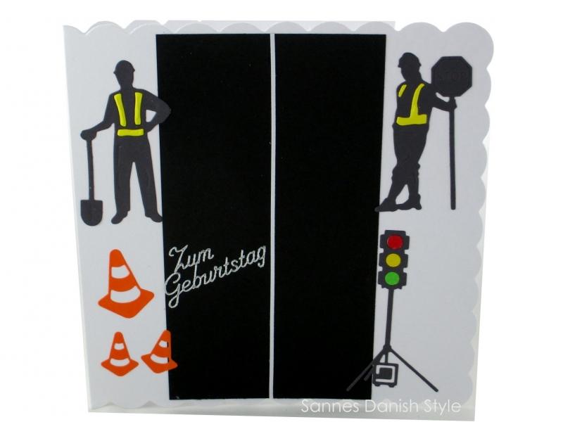 - Karte mit Ampel, Straßenbauer, Grußkarte, Geburtstagskarte, Straßenbauer,  Verkehrshütchen, ca. 15 x 15 cm - Karte mit Ampel, Straßenbauer, Grußkarte, Geburtstagskarte, Straßenbauer,  Verkehrshütchen, ca. 15 x 15 cm