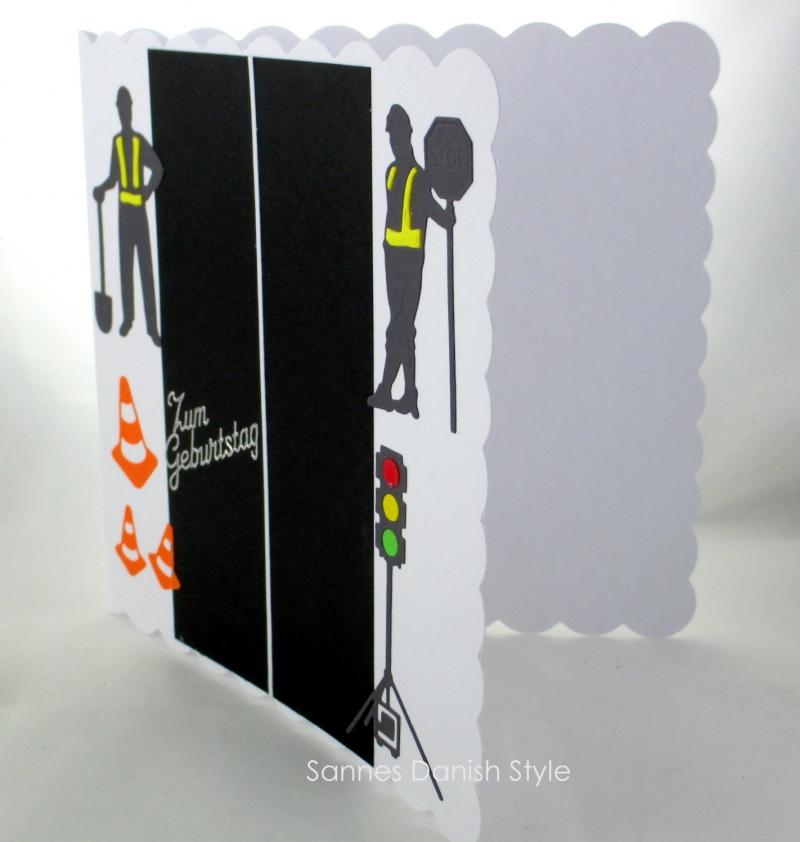 Kleinesbild - Karte mit Ampel, Straßenbauer, Grußkarte, Geburtstagskarte, Straßenbauer,  Verkehrshütchen, ca. 15 x 15 cm