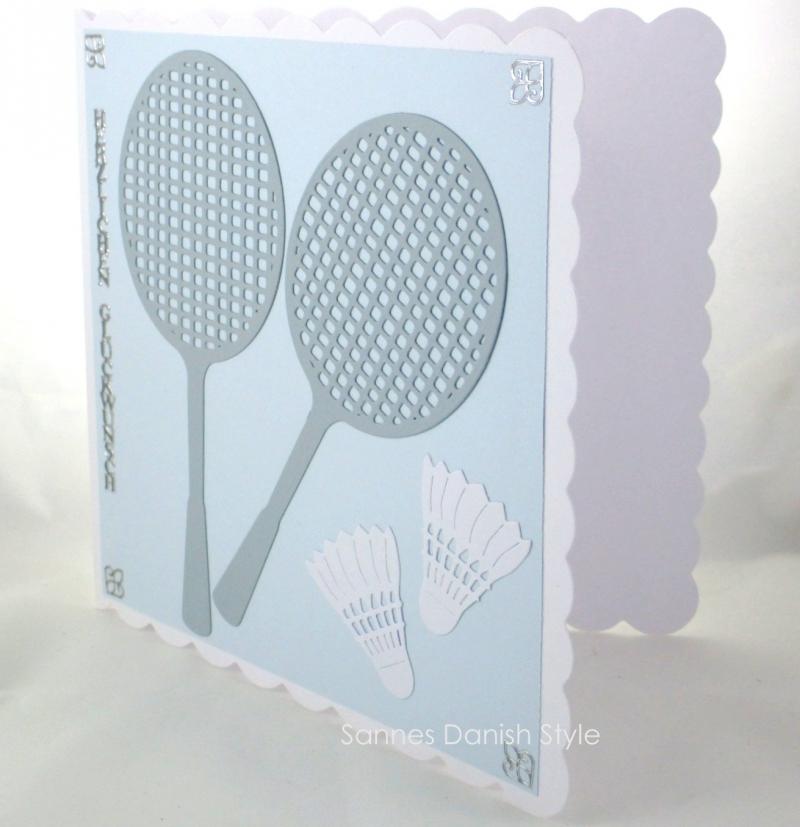 Kleinesbild - Grußkarte Federball, Geburtstagskarte Badminton, Karte Federball, Grußkarte mit Badmintonschläger, die Karte ist ca. 15 x 15 cm