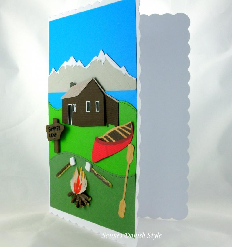 Kleinesbild - Grußkarte, XL Karte, Berge, Blockhütte, Kanu, Feuerstelle, die Karte ist ca. DIN A5 Format