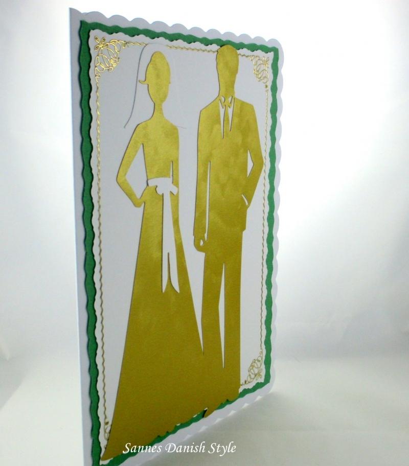 Kleinesbild - XL Grußkarte Goldener Hochzeit, Herzen, Blume, Hochzeitspaar, 50. Jahrestag, die Karte ist ca. DIN A5 Format