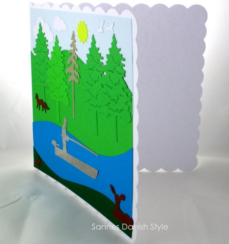 Kleinesbild - Schöne Geburtstagskarte Angler, Ruhestandskarte, Boat, See, Reh, Fuchs, in der Natur, die Karte ist  ca. 15 x 15 cm