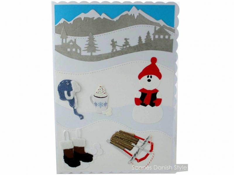 - Schöne Winterkarte, Grußkarte, Geburtstagskarte, Schneemann, Schlitten, Mütze, Winterstiefel, Kakao, die Karte ist ca. DIN A5 Format - Schöne Winterkarte, Grußkarte, Geburtstagskarte, Schneemann, Schlitten, Mütze, Winterstiefel, Kakao, die Karte ist ca. DIN A5 Format