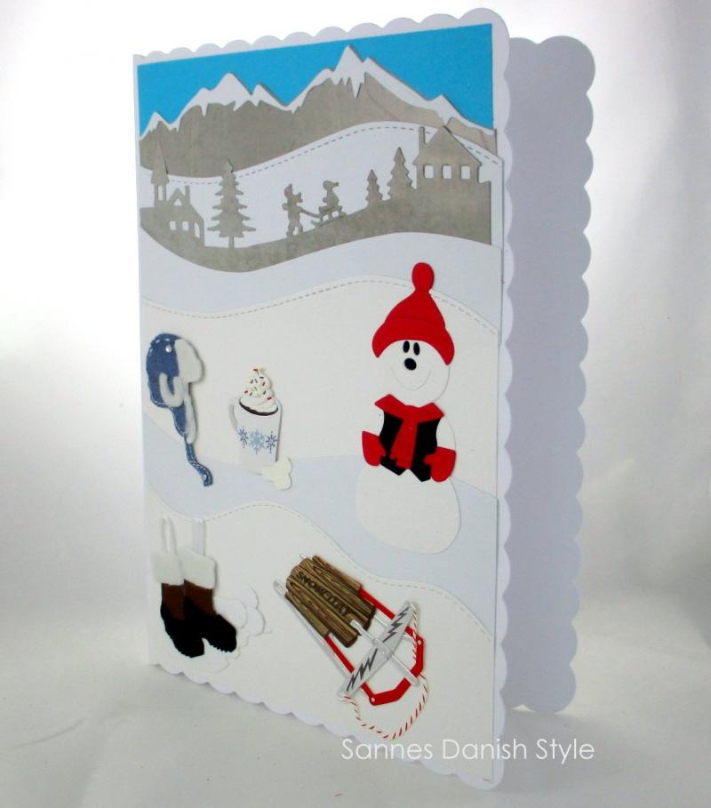 Kleinesbild - Schöne Winterkarte, Grußkarte, Geburtstagskarte, Schneemann, Schlitten, Mütze, Winterstiefel, Kakao, die Karte ist ca. DIN A5 Format