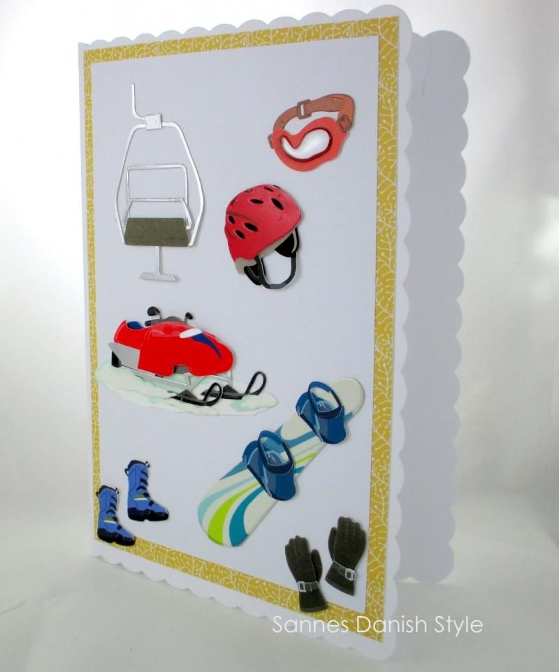 Kleinesbild - XL Wintersport, Geburtstagskarte, Glückwunschkarte mit Skilift, Snowmobile, Snowboard, und Kamin, die Karte ist ca. DIN A5 Format.