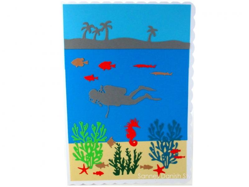 - Große Taucherkarte, Geburtstagskarte, Grußkarte, Tauchurlaub, Faltkarte, Meer und Pflanzen, die Karte ist ca. DIN A5 Format - Große Taucherkarte, Geburtstagskarte, Grußkarte, Tauchurlaub, Faltkarte, Meer und Pflanzen, die Karte ist ca. DIN A5 Format