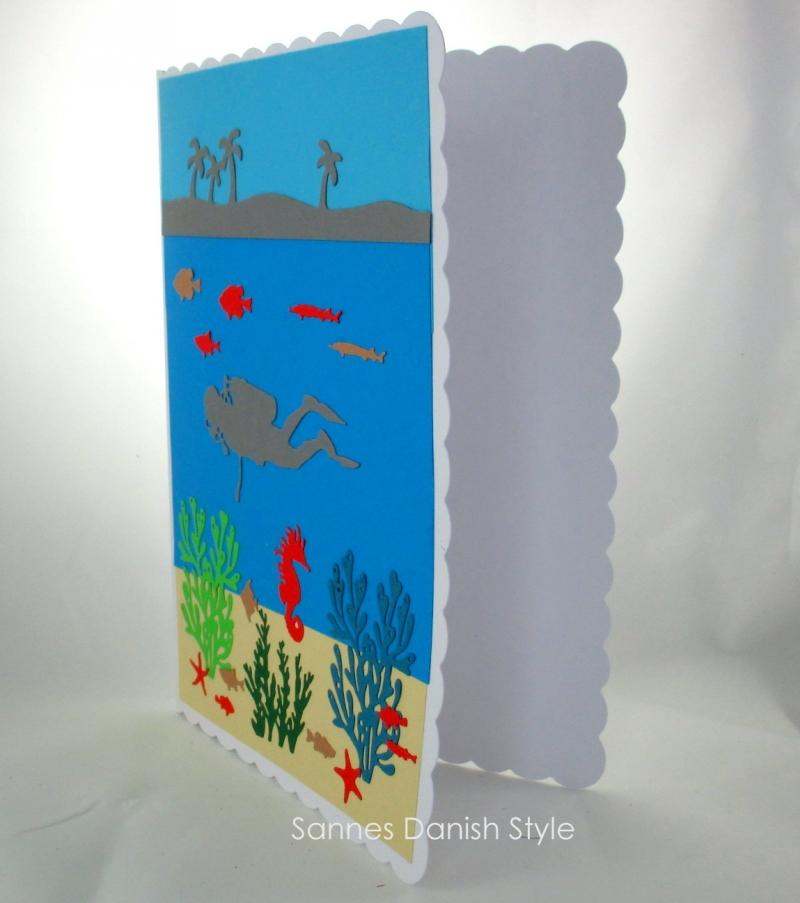 Kleinesbild - Große Taucherkarte, Geburtstagskarte, Grußkarte, Tauchurlaub, Faltkarte, Meer und Pflanzen, die Karte ist ca. DIN A5 Format