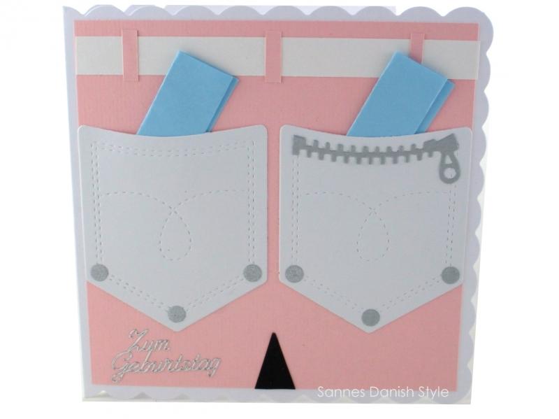 - Geburtstagskarte für die Frau, gebastelt, rosa Hose mit Hosentaschen für Geldgeschenke, schnell bestellen, die Karte ist ca. 15 x 15 cm - Geburtstagskarte für die Frau, gebastelt, rosa Hose mit Hosentaschen für Geldgeschenke, schnell bestellen, die Karte ist ca. 15 x 15 cm