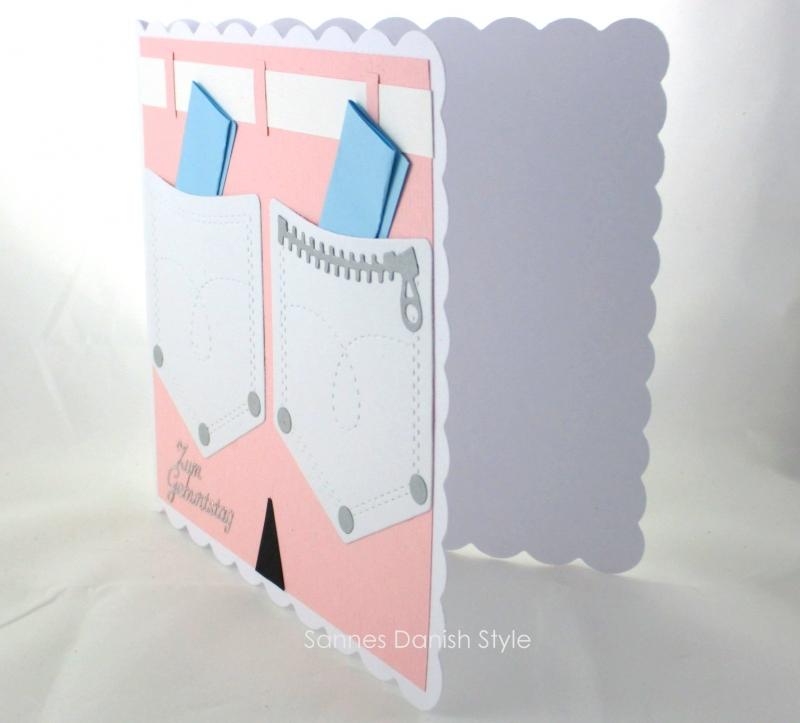 Kleinesbild - Geburtstagskarte für die Frau, gebastelt, rosa Hose mit Hosentaschen für Geldgeschenke, schnell bestellen, die Karte ist ca. 15 x 15 cm