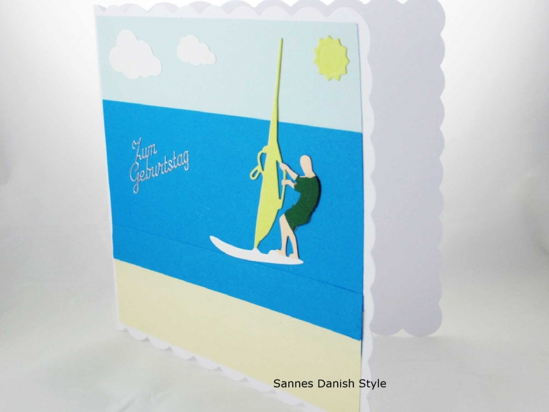 Kleinesbild - Geburtstagskarte für Windsurfer, Meer, Sonne, Wasserspaß, jetzt kaufen, die Karte ist  ca. 15 x 15 cm