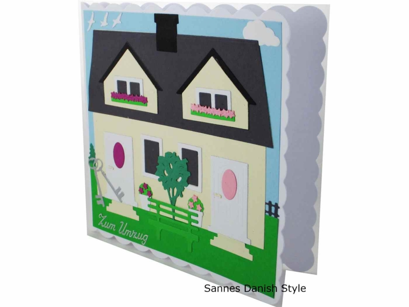 Kleinesbild - Umzugskarte, Einzugskarte, Umzug in neues Haus, Glückwünsche an Hausbesitzer, die Karte ist ca. 15 x 15 cm