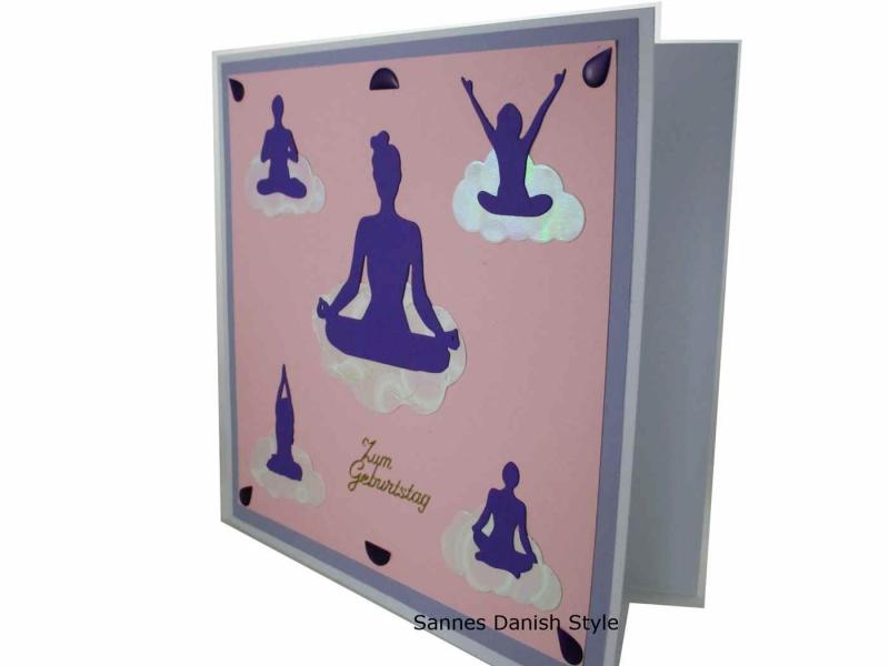Kleinesbild - Geburtstagskarte, 3D Grußkarte, Entspannung, Meditation oder Yoga, diese Karte ist für die Frau, die Karte ist ca.20 x 20 cm