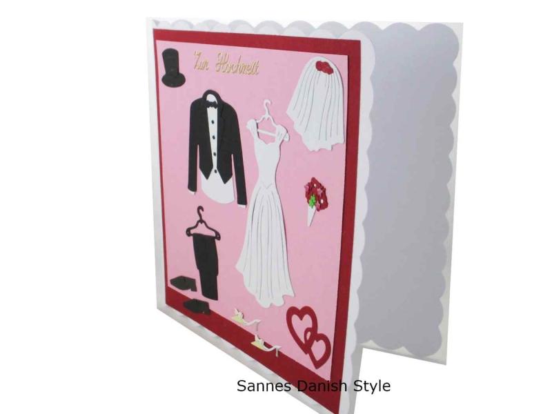 Kleinesbild - 3D Hochzeitskarte Kirchenhochzeit, Grußkarte zur Hochzeit, schöne Glückwunschkarte mit Brautkleid und Anzug. Die Karte ist ca. 15 x 15 cm