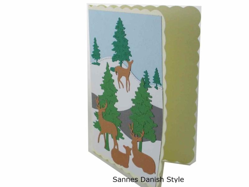 Kleinesbild - Geburtstagskarte, Grußkarte mit Wintermotiv, Rehe und Tannen, schöne Geburtstagskarte, die Karte hat ca. DIN A6 (14,8 x 10,5) Format