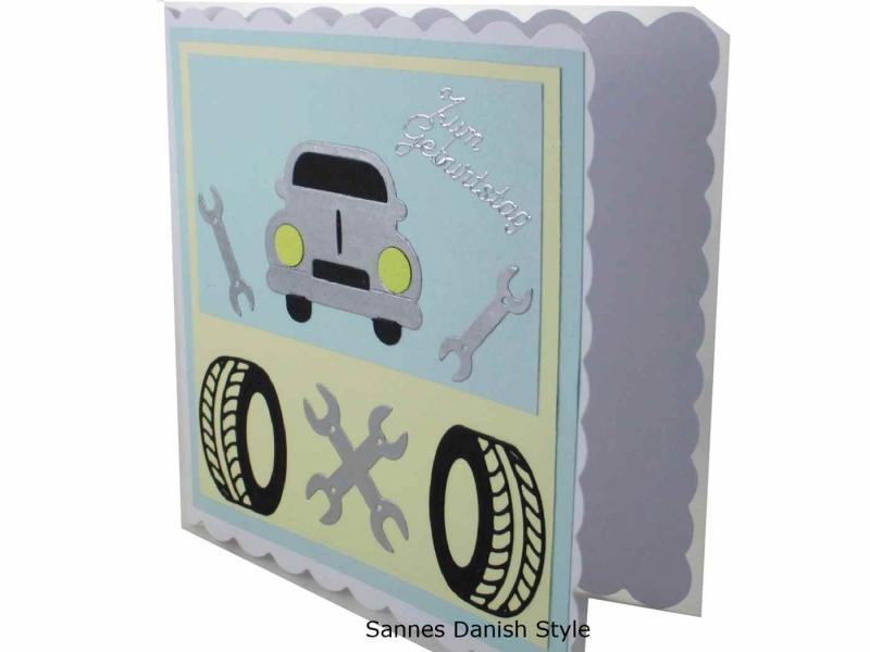 Kleinesbild - Tolle Grußkarte mit einem Wagen / Auto, Geburtstagskarte, Grußkarte, für Autofahrer, 3D Geburtstagskarte, Auto, Grußkarte mit Auto, Reifen und Werkzeug, die Karte ist ca. 15 x 15 c
