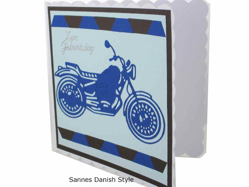 Kleinesbild - 3D Geburtstagskarte, Motorradfahrer, Geburtstagskarte, Geburtstagskarte Motorrad, Biker Karte, blaues Motorrad die Karte ist ca. 15 x 15 cm