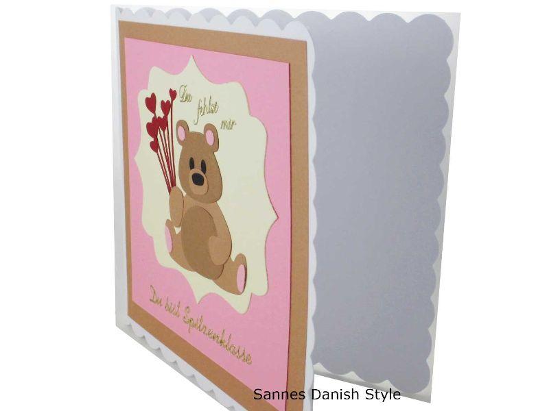 Kleinesbild - Grußkarte süße Bär, Du fehlst mir, Du bist Spitzenklasse, mit Herzen, Geburtstagskarte, Freundschaftskarte, Bär Geburtstagskarte, Geburtstagsgrüße, die Karte ist ca. 15 x 15 cm