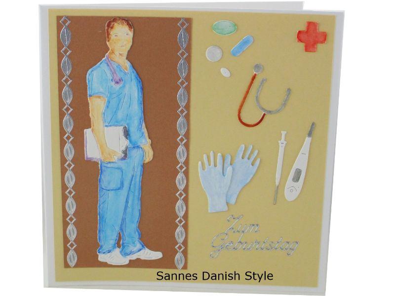 Kleinesbild - Geburtstagskarte Arzt, Ärzte, Grußkarte, Glückwunschkarte, Arzt, Mediziner, Pflegekraft, Aquarellkarte, Geburtstagskarte für Medizinbereich, die Karte ist  13,5 x 13,5 cm