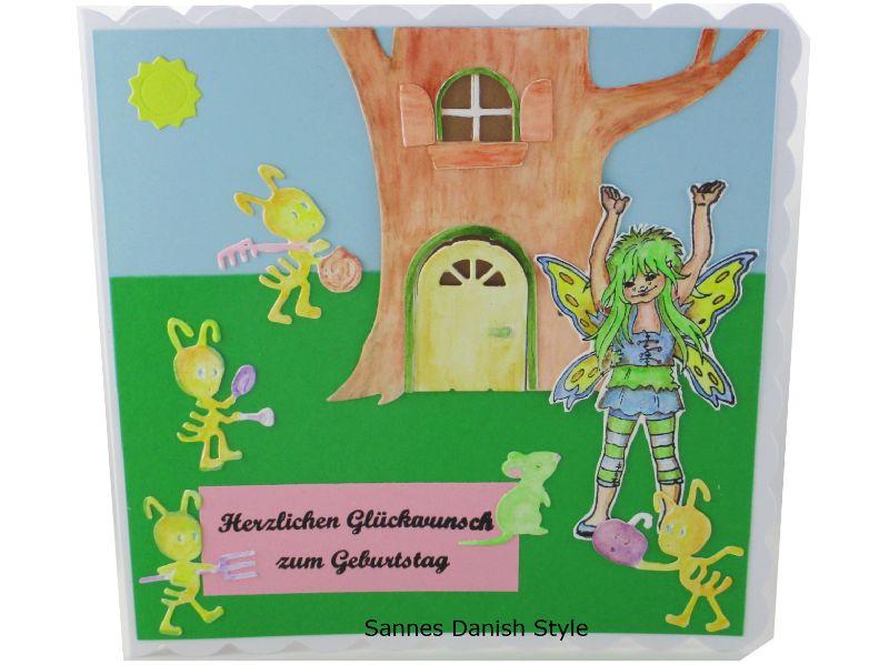 - Geburtstagskarte, süße Fee, fleißige Ameisen, für groß und klein, Gute Laune Karte, die Karte ist ca. 15 x 15 cm - Geburtstagskarte, süße Fee, fleißige Ameisen, für groß und klein, Gute Laune Karte, die Karte ist ca. 15 x 15 cm