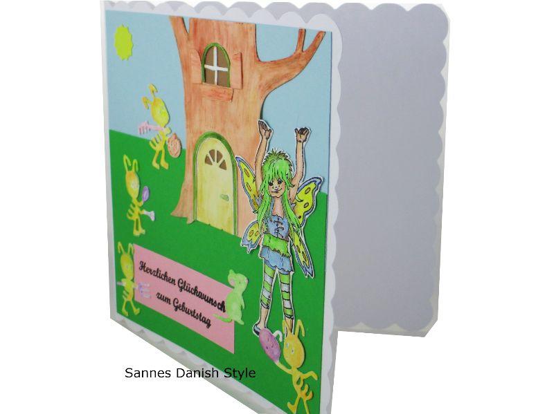 Kleinesbild - Geburtstagskarte, süße Fee, fleißige Ameisen, für groß und klein, Gute Laune Karte, die Karte ist ca. 15 x 15 cm