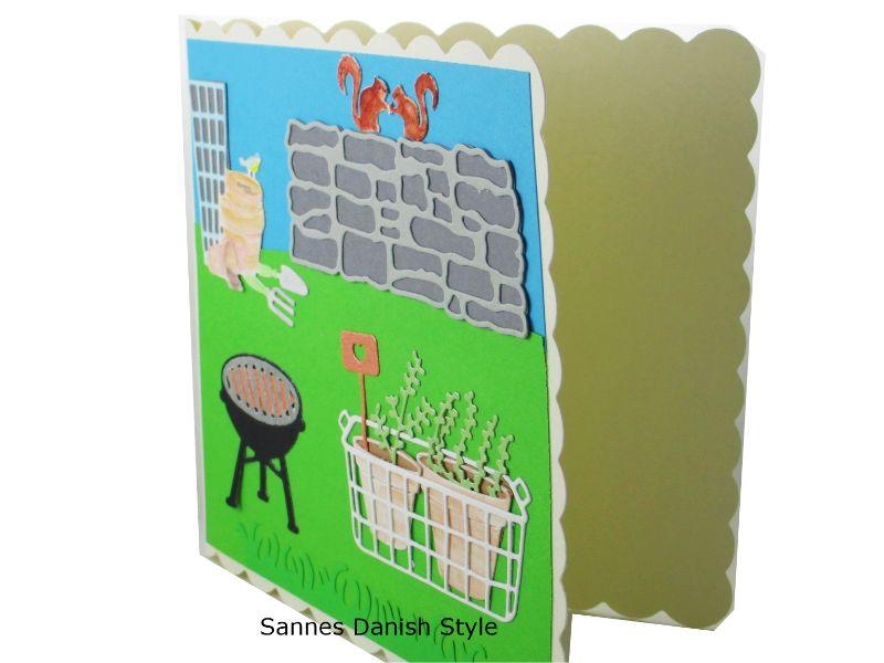 Kleinesbild - 3D Frühlingskarte, Geburtstagskarte, Grußkarte für Gartenfreunde, Blumentöpfe und Gartengeräte, Aquarellkarte, die Karte ist ca. 15 x 15 cm