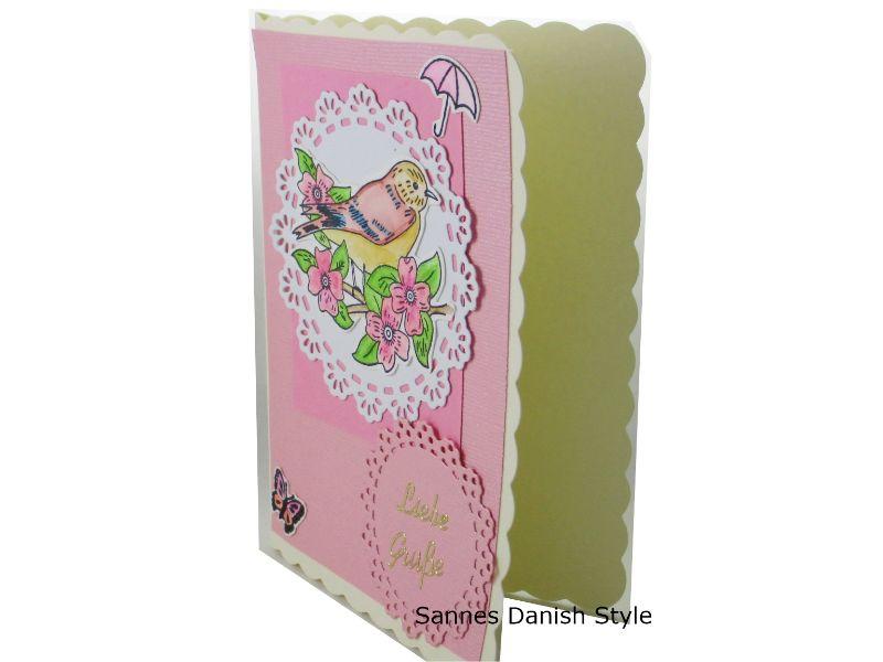 Kleinesbild - Süße Grußkarte mit Vogelmotiv, Geburtstagskarte, Vogelkarte, Liebe Grüße, die Karte hat ca. DIN A6 (14,8 x 10,5 cm) Format