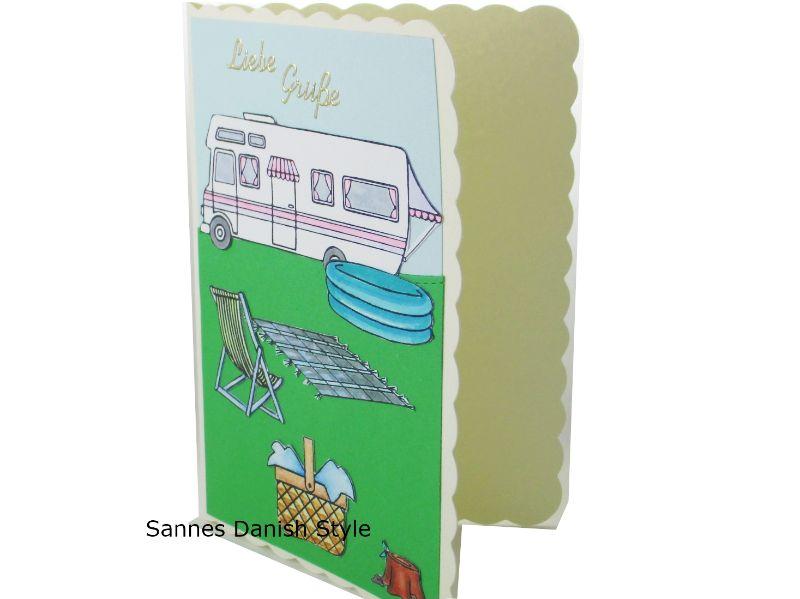 Kleinesbild - Geburtstagskarte Camper, Campingtour mit Schwimmbecken, Grußkarte Urlaub die Karte hat DIN A6 Format