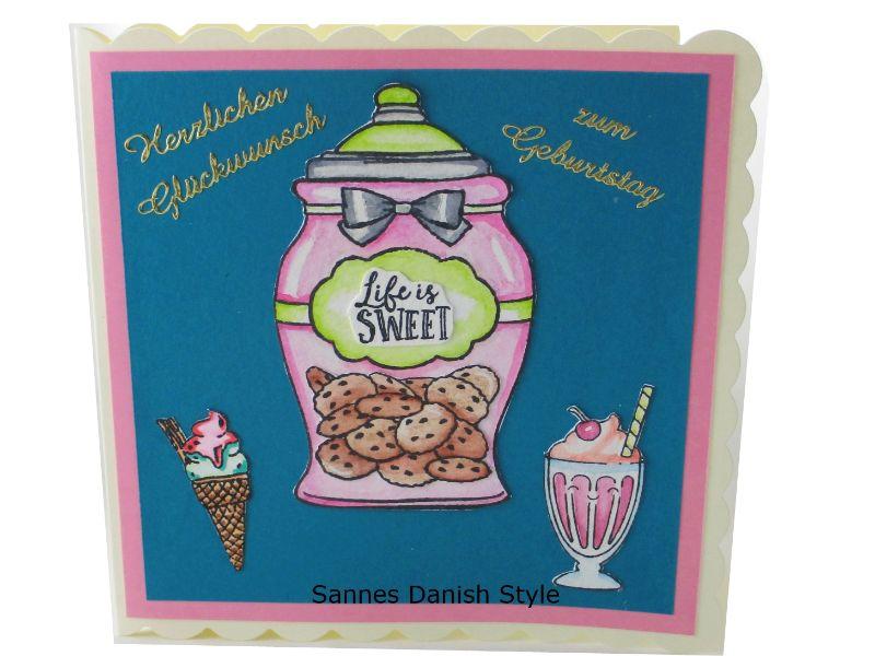 - Geburtstagskarte mit Eis und Kekse, für den süßen Zahn, Schöne Geburtstagskarte in überwiegend Türkis und Rosa gehalten, die Karte ist ca. 15 x 15 cm - Geburtstagskarte mit Eis und Kekse, für den süßen Zahn, Schöne Geburtstagskarte in überwiegend Türkis und Rosa gehalten, die Karte ist ca. 15 x 15 cm