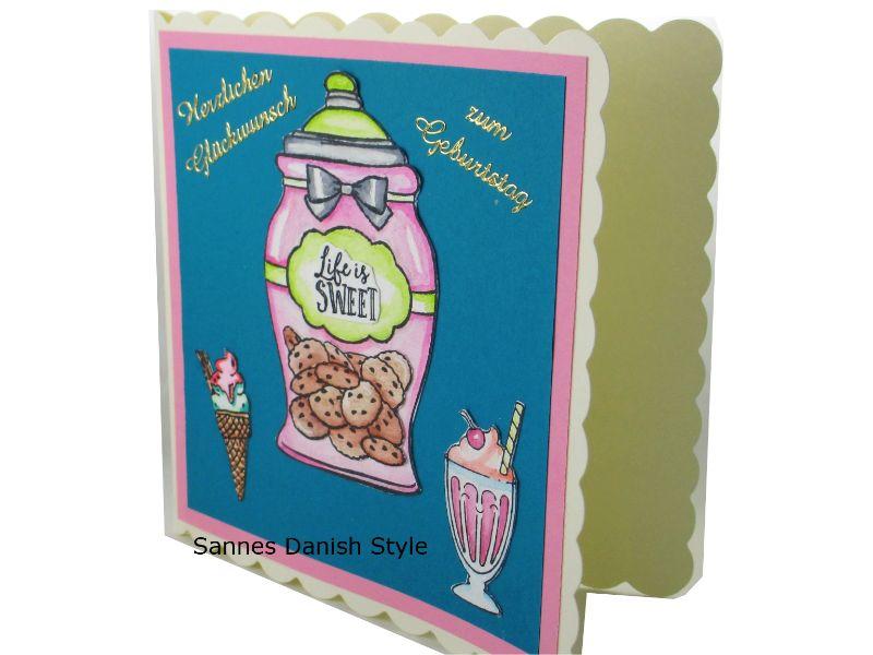 Kleinesbild - Geburtstagskarte mit Eis und Kekse, für den süßen Zahn, Schöne Geburtstagskarte in überwiegend Türkis und Rosa gehalten, die Karte ist ca. 15 x 15 cm