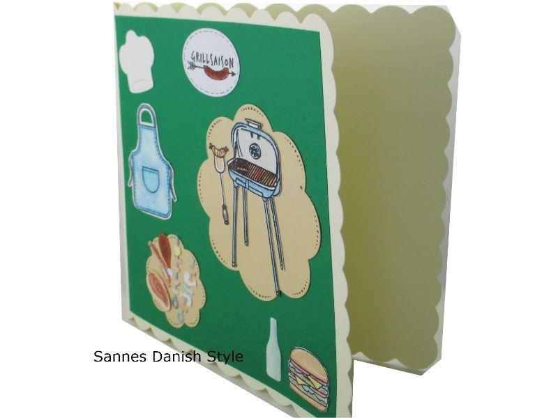 Kleinesbild - Geburtstagskarte Schürze, Kochmütze und Grill, tolle Grillfeier mit Grillmeister, Sommerkarte für Griller, die Karte ist ca. 15 x 15 cm