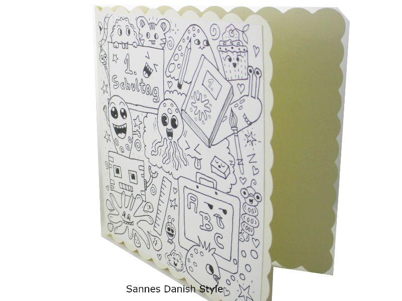 Kleinesbild - Karte Schulanfang, Grußkarte Ausmalen, Karte für die Schule, Einschulung, Karte zum Ausmalen, mit Plupies, die Karte ist ca. 15 x 15 cm