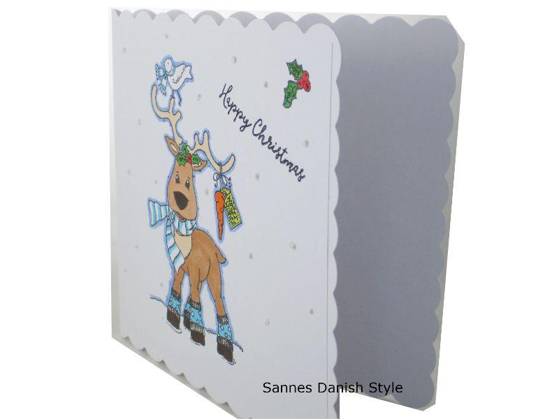 Kleinesbild - Happy Christmas, Weihnachten, Weihnachtsgrüße mit Rentier, Weihnachtsgrüße, gleich kaufen, die Karte ist ca. 15 x 15 cm