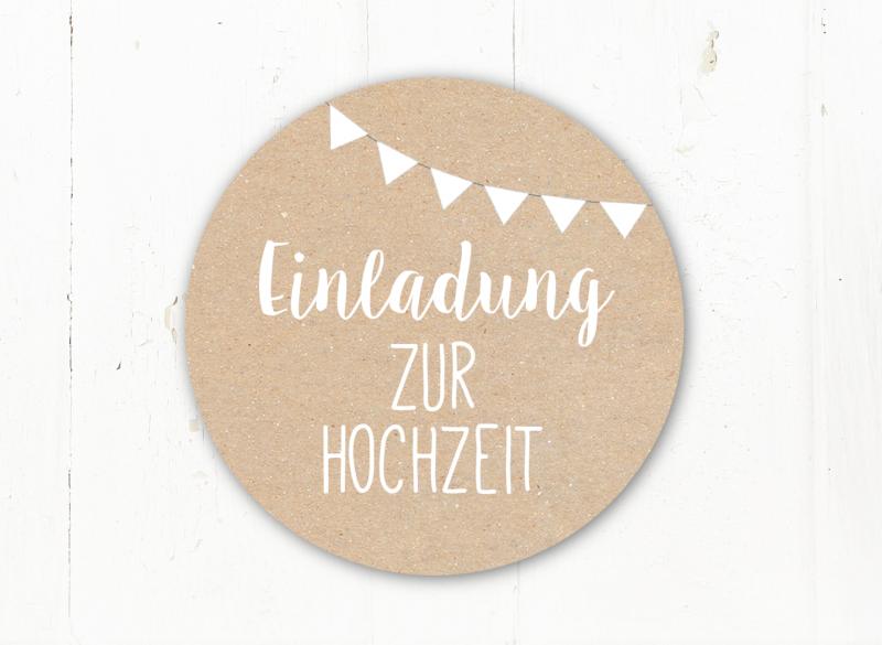 2417.180803.122427 ♥ Einladung Zur Hochzeit ♥ 24 Schöne Sticker In  Kraftpapieroptik Für Eure Einladungskarten 40mm Durchmesser