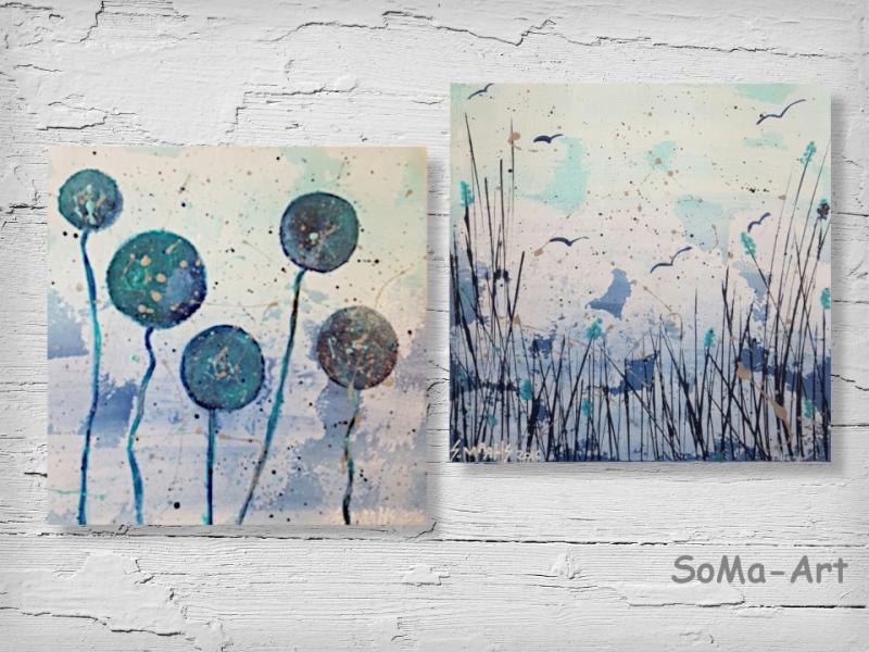 Kleinesbild - Acrylbild ☆Duo Kugelblumen & Am See ☆ 20cm x 20 cm, Acrylbild auf Papier, Moderne Malerei ** SoMa_Art