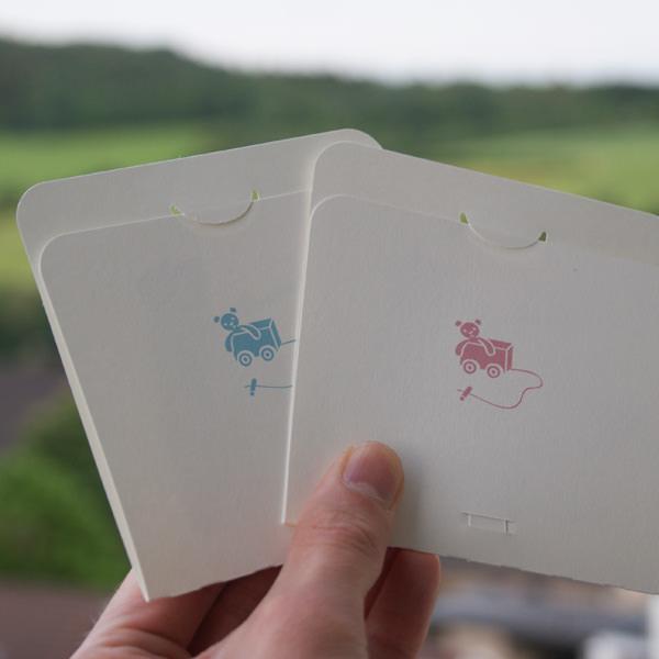 Kleinesbild - Geburtskarte ★ Blau oder Rosa ★ Babykarte ★ Junge oder Mädchen ★ Karte zur Geburt mit Storch und Wiege ★ Pop-Up-Karte ★ Glückwünsche zur Geburt ★ hollanddesign