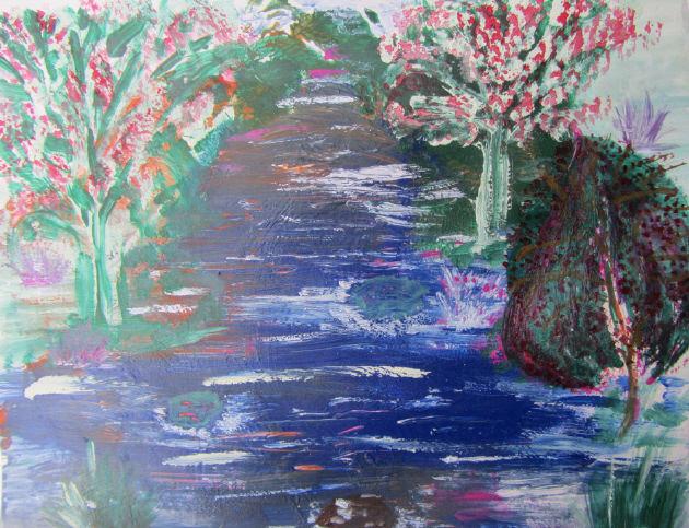 Kleinesbild - Handgemaltes Aquarellbild Flusslandschaft gemalt mit Aquarellfarben und Acrylfarben auf Pappe direkt von der Künstlerin kaufen