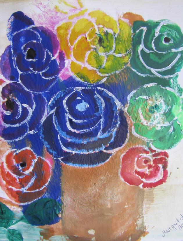Kleinesbild - Handgemaltes Acrylbild mit dem Titel Bunter Blumenstrauß gemalt mit Acrylfarben und Aquarellfarben auf Pappe direkt von der Künstlerin kaufen