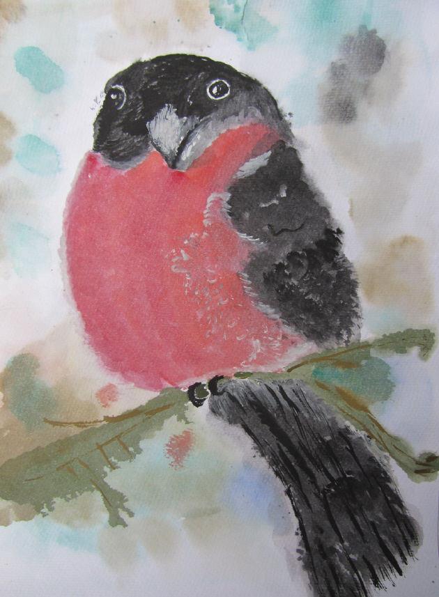 Kleinesbild - Handgemaltes Aquarellbild Dompfaff gemalt mit Aquarellfarben auf Aquarellpapier direkt von der Künstlerin kaufen