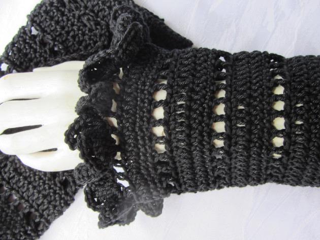 - Armstulpen handgehäkelt aus Baumwolle in Schwarz kaufen - Armstulpen handgehäkelt aus Baumwolle in Schwarz kaufen